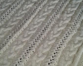Knitting baby blanket/alpaca baby blanket/cream baby blanket