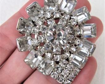 Spectacular 1940's Clear Diamente Brooch