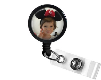 Custom Photo Glass/Bottle Cap Retractable ID Badge Reel, Nurse Badge Reel