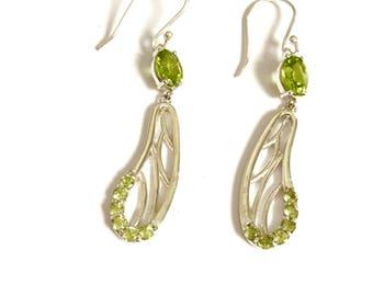 Peridot earrings, silver peridot earrings, drop peridot earrings, Sterling earrings, gift for her, gemstone earrings, womens beautiful gift