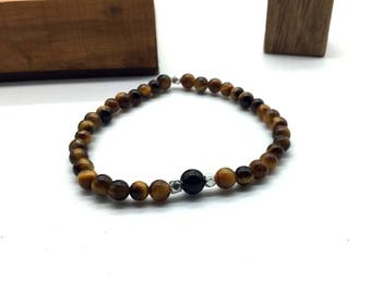 Bracelet tiger eye and onyx