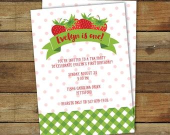 Printable Strawberry Birthday Party Invitation. Strawberry Invitation. Printable Party Invitation