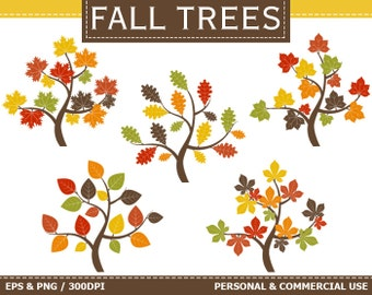 Digital Fall Trees Clip Art Autumn, Fall, Leaves, Trees, Green, Orange Clip Art,