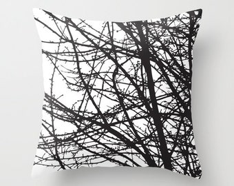 Black Tree Branches pillow with insert  -Black and White - Modern Home Decor - By Aldari Home - Halloween