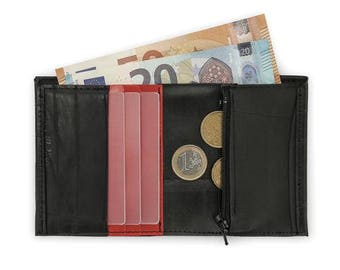 Compatto red . Vertical wallet with coin pocket made from recycled bike inner tube // Bi-fold wallet slim and compact // Pocket-size wallet