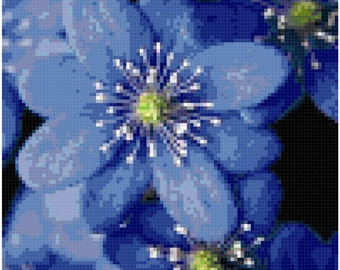 Cross Stitch  Blue Flowers Close-up Pattern Design Chart Garden Flowers Nature Home Decor PDF Digital File Instant Download