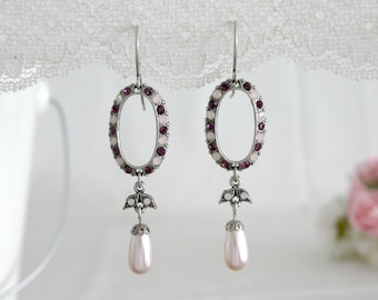 Elegant White And Purple Crystal Earrings With A Pearl - Crystal and Pearl Bridal Earrings - Bridal Crystal Earrings