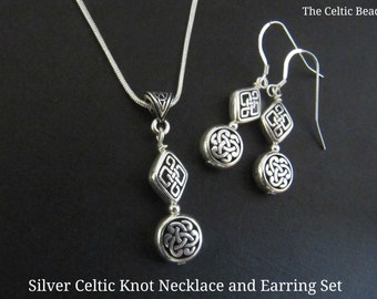 Silver Celtic Jewelry Set - Includes  Necklace & Earrings