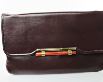 Vintage Brown Faux Leather Convertible Clutch with Brass-Toned/Faux Orange Quartzite/Copal Accents
