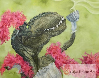 "Small (~7x10"") Limited Edition Archival Giclee Print of ""Tea Rex"" Dinosaur Tea Party"