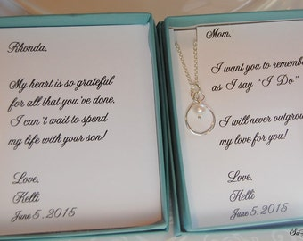Mother of the Bride and Groom, Set of TWO, Freshwater Pearl Infinity Necklace and Chain, Sterling Silver, Wedding Jewelry