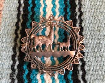 Vintage llama or Alpaca sterling silver brooch