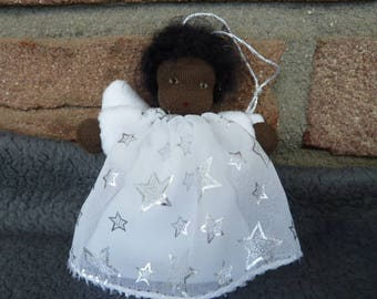 """Waldorf Angel """"Silver Star"""", Waldorf Doll, guardian angel, Lucky charm, colored angel, gift for girls, communion,"""