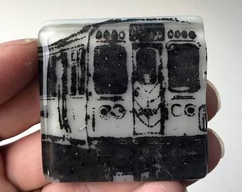 Chicago CTA Glass Magnet, El Train Magnet, Light Gray Glass Refrigerator Magnet, Black Printed Magnet