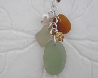Fall Sea Glass Jewelry Necklace Beach Pendant Sterling Charm