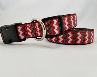 Red, White, and Black Glitter Chevron - Fashion Dog Collars