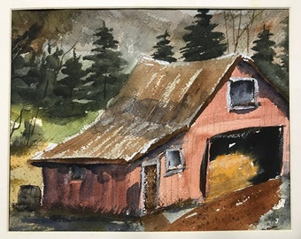 Old Red Barn Original Watercolor Painting:  wall decor gift idea personal office art birthday gift house warming gift WestokArt