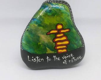 Original Rock Painting, NORTHERN LIGHTS, Inukshuk, Listen to the voice of Nature, Standing Stones