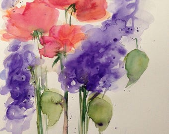Original watercolor watercolor painting image meadow flowers Watercolor flowers