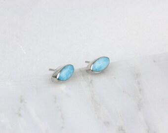 Larimar Earrings, Raw Stone Earrings, Silver Bridal Studs, Small Stud Earrings, Larimar Stud Earring , Bright Blue Studs, Aquamarine Earring