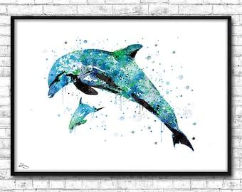 Dolphins poster, watercolor sea, home decor, animal illustration, gift idea, wall decor, Dolphin family