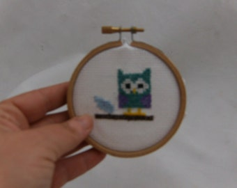 Owl cross stitch, baby girl nursery, gifts for her, gift idea, under 6, walll art, wall decor, night