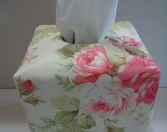 Ready To Ship -  Large Flower Print-  Fabric Tissue Box Cover