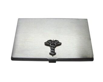 Black Toned Caduceus Medical Symbol Business Card Holder