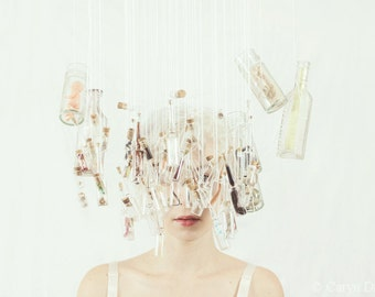The Memory Collector - Where Am I In All Of This FREE SHIPPING Fine Art Surreal Photo Print Memories Lost Keepsakes White Mint Portrait