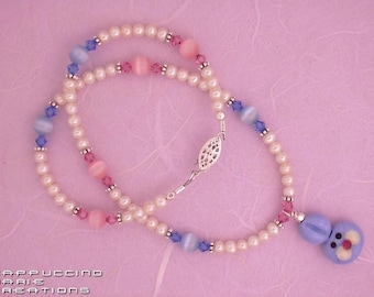 Pearls 4 Girls - Blue Easter Bunny necklace - Freshwater pearl - Crystal - sterling