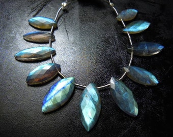 Labradorite Briolette Faceted Marquise Rose Cut 8 inches-11pc  AAA Quality Strong Blue Fire  Size- 6x12-12x24mm Wholesale Price