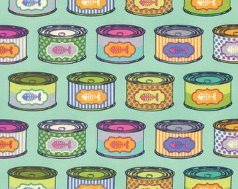 Tula Pink Tabby Road Cat Snacks in Blue Bird PWTP094.BLUEB blue and green cat food cans cotton fabric yardage quilting cotton freespirit