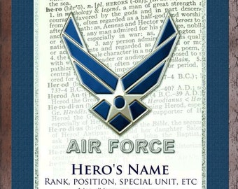Air Force  Personalized Print Hero Dictionary Art