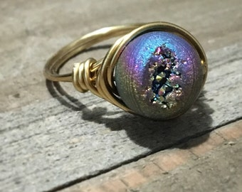 Druzy Wire Wrapped Ring