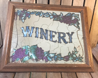 Vintage Winery Mirror Sign, Vintage Sign, Winery