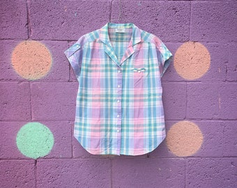 Vintage Lavender Plaid Camp Shirt (Size Medium)