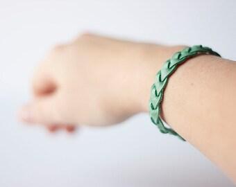 Braided Leather Bracelet / Seafoam