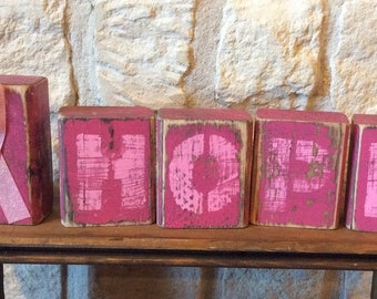 HOPE Breast Cancer Awareness Rustic Home Decor-HOPE Breast Cancer Home Decor-Breast Cancer Awareness Inspirational Gift-Pink Ribbon HOPE
