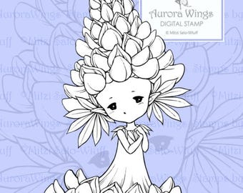 PNG Digital Stamp - Instant Download - Lupine Sprite - Aurora Wings - Fantasy Flower Fairy Image for Cards and Coloring by Mitzi Sato-Wiuff
