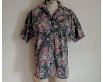 Vintage floral pattern short sleeve button up shirt