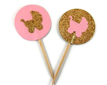 12 Pink and Gold Baby Shower Cupcake Toppers,  Girl Baby Cup cake Toppers, Pink and Gold  Baby Shower decor, Baby carriage baptism decor