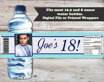 18th Birthday Water Bottle Labels, 18th Birthday Water Bottle Wrappers, 18th Birthday Party Favors, 18th Birthday Party, Adult Water Labels