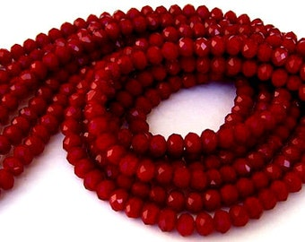 30 burgundy beads, 6mm x 4mm Chinese crystal rondelles, ruby quartz velvet, deep red 6mm