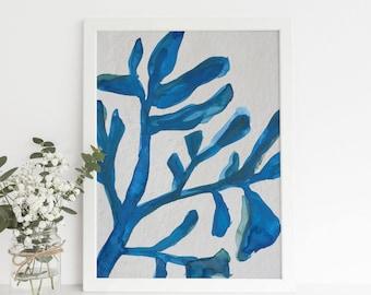 Seaweed Plant Art, Marine Painting, Botanical Watercolor, Modern Coastal Wall Art, Beach House Decor, Blue Algae Print, Seaweed Print