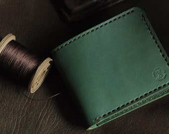 Wallet  leather Wallet Green leather