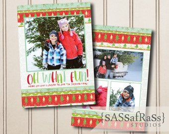Oh What Fun--Christmas Card Template for Adobe Photoshop OR Made-To-Order Card