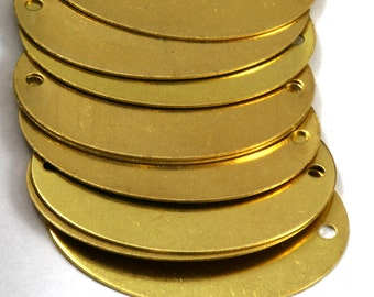 20 pcs Raw Brass 24x32 mm Oval 2 hole connector Charms ,Findings 593R-38