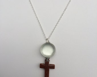 Brown Cross Chain Necklace with Moon glass