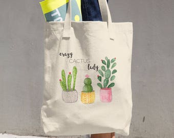 Cactus Tote Bag - Crazy Cactus Lady Bag - Cactus Gifts for Her - Book Tote Bag - Reusable Grocery Bag - Cotton Tote Bag -  Cactus Lover Gift