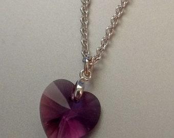 "18"" silver chain with purple glass heart pendant 1/2""W x 3/4""L"